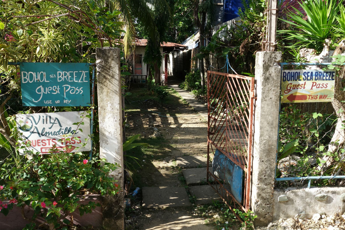 The path to Alona Beach from Bohol Sea Breeze Cottages