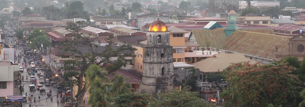 Dumaguete, Philippines - view from C&L tower to the Market and Bell Tower